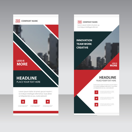 Red black abstract triangle Business Roll Up Banner flat design template ,Abstract Geometric banner template Vector illustration set, abstract presentation template