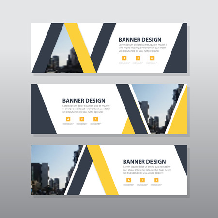 website header: Yellow black triangle abstract corporate business banner template, horizontal advertising business banner layout template flat design set , clean abstract cover header background for website design Illustration