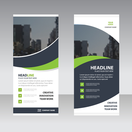 Green black curve astract triangle Business Roll Up Banner flat design template ,Abstract Geometric banner template Vector illustration set, abstract presentation template  イラスト・ベクター素材