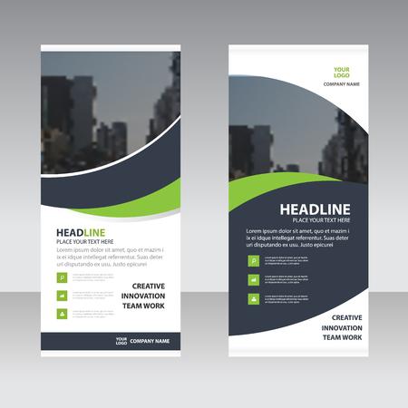 Zielona czarny trójkąt firm krzywa Astract Roll Up Banner szablon płaska, streszczenie Geometryczne transparentu szablonu Zestaw ilustracji wektorowych, szablon streszczenie prezentacji