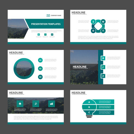 Green Abstract presentation templates, Infographic elements template flat design set for annual report brochure flyer leaflet marketing advertising banner template