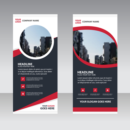 Red black abstract Business Roll Up Banner flat design template ,Abstract Geometric banner template Vector illustration set, abstract presentation leaflet brochure flyer template vertical template vector