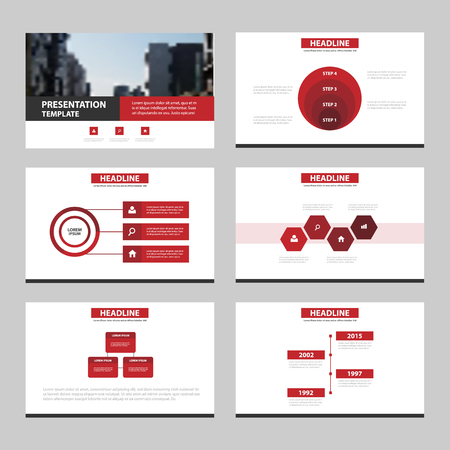 Red circle Abstract presentation templates, Infographic elements template flat design set for annual report brochure flyer leaflet marketing advertising banner template