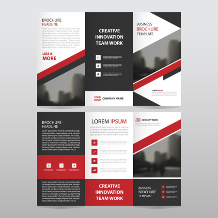 Red black triangle business trifold Leaflet Brochure Flyer report template vector minimal flat design set, abstract three fold presentation layout templates a4 size