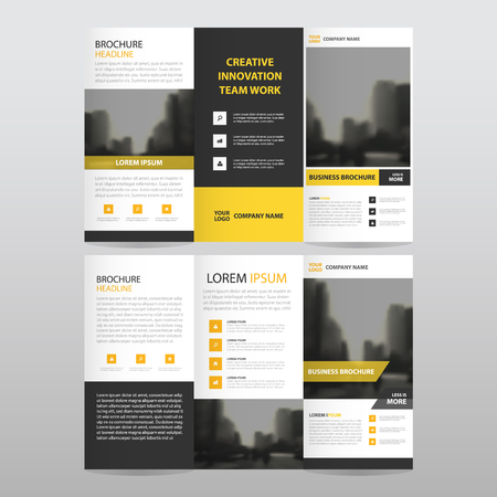 Yellow black triangle business trifold Leaflet Brochure Flyer report template vector minimal flat design set, abstract three fold presentation layout templates a4 size