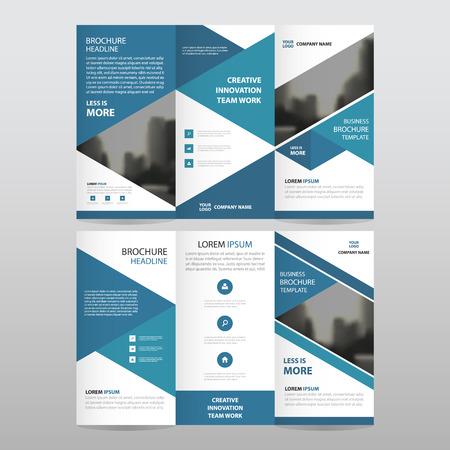 Blue triangle business trifold Leaflet Brochure Flyer report template vector minimal flat design set, abstract three fold presentation layout templates a4 size 免版税图像 - 60204107