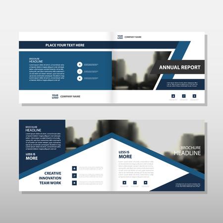 青い三角形ベクトル年次報告書チラシ パンフレット フライヤー テンプレート デザイン ブック カバー レイアウト デザイン、抽象的なビジネス プ