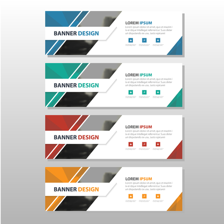 trade show: Colorful triangle abstract corporate business banner template, infographic horizontal advertising business banner layout template flat design set , clean abstract cover header background for website design