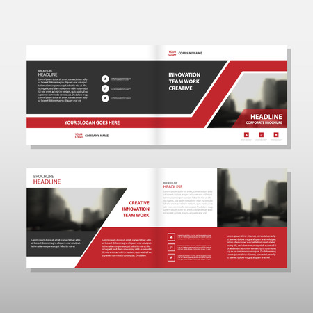 Red black triangle Vector annual report Leaflet Brochure Flyer template design, book cover layout design, abstract business presentation template, a4 size design Vectores