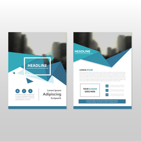 Blue triangle triangle annual report Leaflet Brochure Flyer template design, book cover layout design, abstract business presentation template, a4 size design