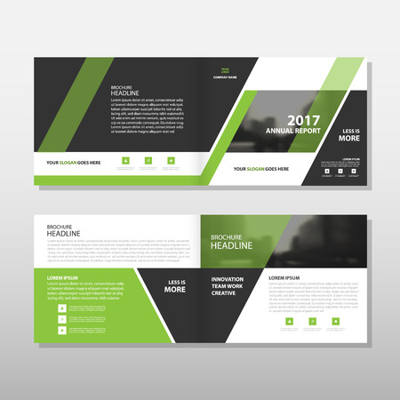 Green black triangle Vector annual report Leaflet Brochure Flyer template design, book cover layout design, abstract business presentation template, a4 size design Vectores