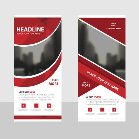 Red curve Business Roll Up Banner flat design template ,Abstract Geometric banner template Vector illustration set, abstract presentation brochure flyer template vertical template vector Illustration