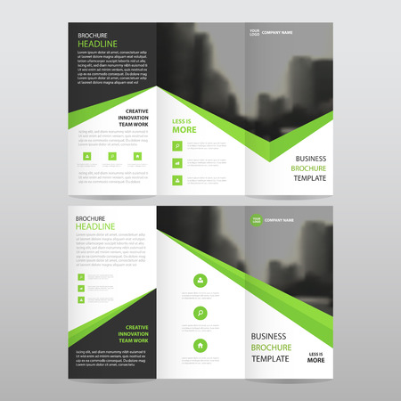 Green black triangle business trifold Leaflet Brochure Flyer report template vector minimal flat design set, abstract three fold presentation layout templates a4 size