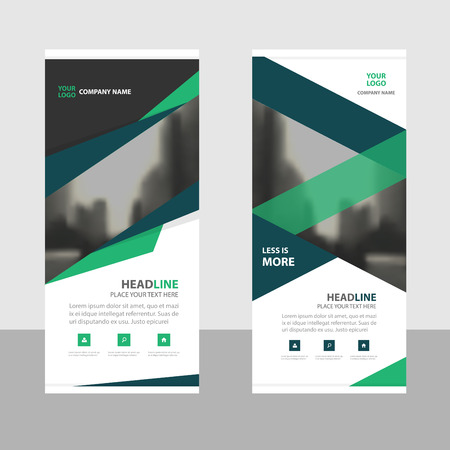 Blue green roll up business brochure flyer banner design , cover presentation abstract geometric background, modern publication x-banner and flag-banner, layout in rectangle size.