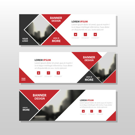 trades: Red black triangle square abstract corporate business banner template, horizontal advertising business banner layout template flat design set , clean abstract cover header background for website design