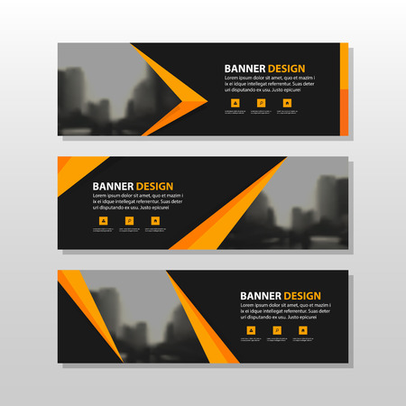 Orange black triangle square abstract corporate business banner template, horizontal advertising business banner layout template flat design set , clean abstract cover header background for website design