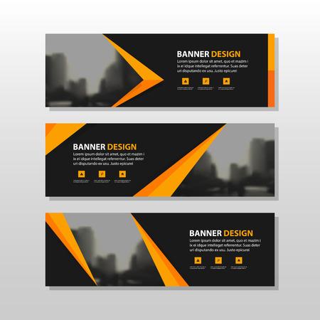 오렌지 검은 색 삼각형 사각형 추상 회사 비즈니스 배너 서식, 수평 광고 사업 배너 레이아웃 템플릿 평면 디자인 설정, 웹 사이트 디자인을위한 깨끗