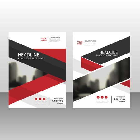 Red black triangle annual report Leaflet Brochure Flyer template design, book cover layout design, abstract business presentation template, a4 size design  イラスト・ベクター素材