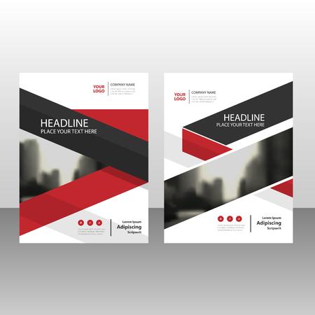 Red jaarverslag zwarte driehoek Pamflet Brochure Flyer template ontwerp, de cover van het boek lay-out ontwerp, abstracte zakelijke presentatie sjabloon, A4-formaat ontwerp