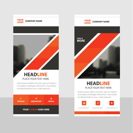 rollup: Orange black triangle abstract Business Roll Up Banner flat design template ,Abstract Geometric banner template Vector illustration set, abstract presentation brochure flyer template vertical template vector Illustration