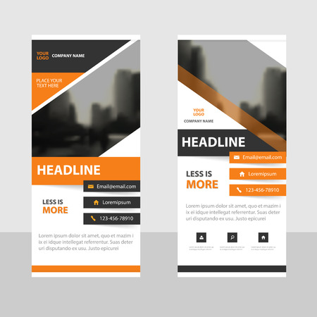 abstract black: Orange black triangle abstract Business Roll Up Banner flat design template ,Abstract Geometric banner template Vector illustration set, abstract presentation brochure flyer template vertical template vector Illustration