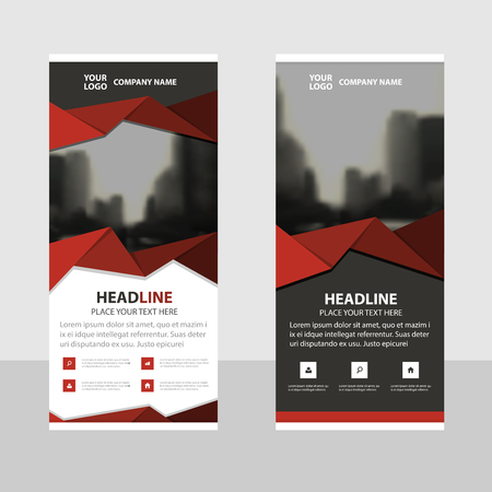 red banner: Red polygon triangle abstract Business Roll Up Banner flat design template ,Abstract Geometric banner template Vector illustration set, abstract presentation brochure flyer template vertical template vector