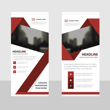 red flag up: Red abstract triangle Abstract Business Roll Up Banner flat design template ,Abstract Geometric banner template Vector illustration set, abstract presentation brochure flyer template vertical template vector Illustration