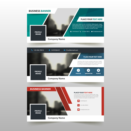 screen print: Red blue green corporate business banner template, horizontal advertising business banner layout template flat design set , clean abstract cover header background for website design Illustration