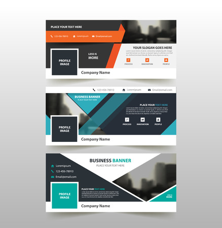 Orange blue green corporate business banner template, horizontal advertising business banner layout template flat design set , clean abstract cover header background for website design