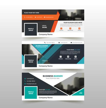 Orange bleu vert modèle de bannière d'affaires de l'entreprise, la publicité horizontale entreprise bannière modèle de mise en page design plat ensemble, propre abstrait tête de couverture arrière-plan pour la conception d'un site web