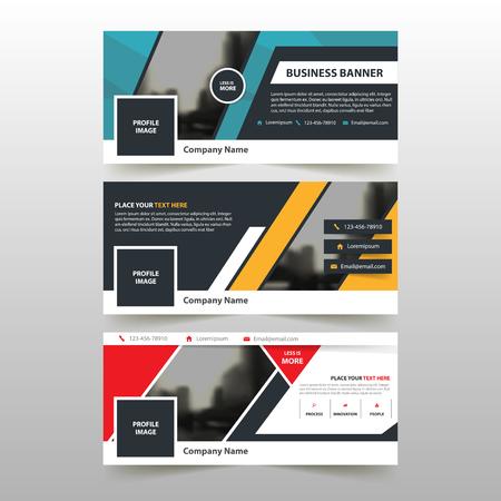 빨간색 파란색 노란색 기업 비즈니스 배너 템플릿, 수평 광고 사업 배너 레이아웃 템플릿 평면 디자인 설정, 웹 사이트 디자인을위한 깨끗한 추상 커버