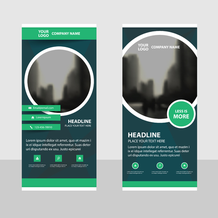 circle design: Green Circle Business Roll Up Banner flat design template ,Abstract Geometric banner template Vector illustration set, abstract presentation brochure flyer template vertical template vector