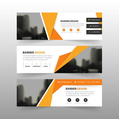 오렌지 노란색 추상적 인 다각형 기업 비즈니스 배너 템플릿, 수평 광고 사업 배너 레이아웃 템플릿 평면 디자인 설정, 웹 사이트 디자인을위한 깨끗한 일러스트
