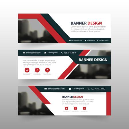 赤黒三角形企業バナー テンプレート水平広告ビジネス バナー レイアウト テンプレート フラット デザイン、ウェブサイトの設計の抽象的なカバー   イラスト・ベクター素材