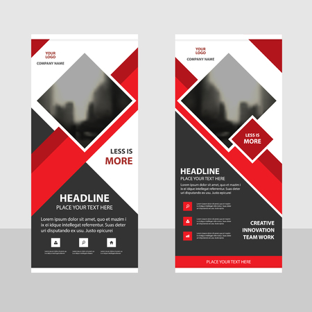 Red square Business Roll Up Banner flat design template ,Abstract Geometric banner template Vector illustration set, abstract presentation brochure flyer template vertical template vector