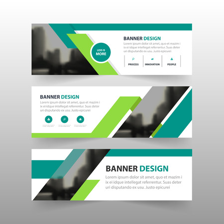 Green triangle abstract polygon corporate business banner template, horizontal advertising business banner layout template flat design set , clean abstract cover header background for website design