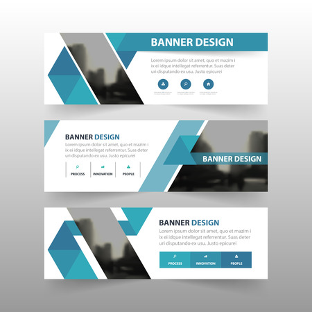 horizontal: Blue triangle abstract polygon corporate business banner template, horizontal advertising business banner layout template flat design set , clean abstract cover header background for website design