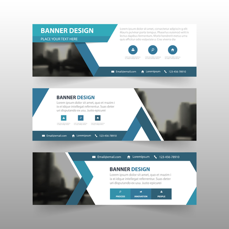 Blue triangle abstract corporate business banner template, horizontal advertising business banner layout template flat design set , clean abstract cover header background for website design Illustration