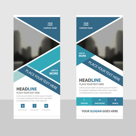 rollup: BLue triangle Business Roll Up Banner flat design template ,Abstract Geometric banner template Vector illustration set, abstract presentation brochure flyer template vertical template vector