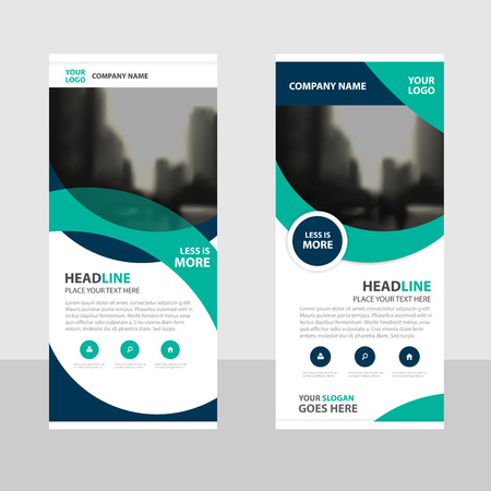 Green curve Business Roll Up Banner flat design template ,Abstract Geometric banner template Vector illustration set, abstract presentation brochure flyer template vertical template vector