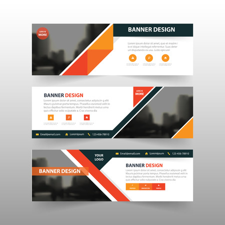 BANNER DESIGN: Orange black triangle abstract corporate business banner template, horizontal advertising business banner layout template flat design set , clean abstract cover header background for website design