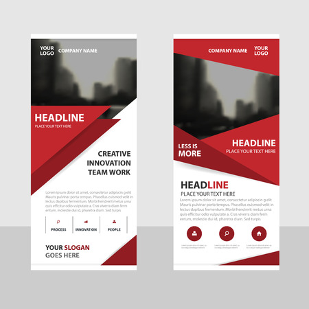 Red triangle Business Roll Up Banner flat design template ,Abstract Geometric banner template Vector illustration set, abstract presentation brochure flyer template vertical template vector