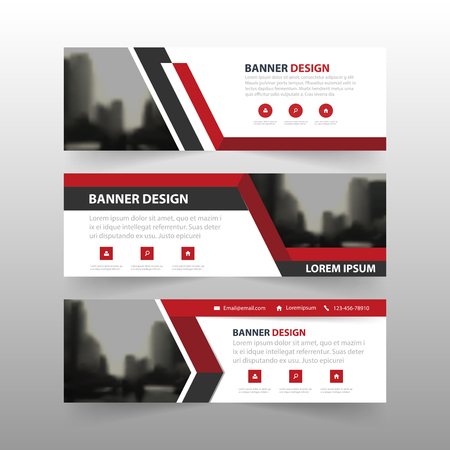 Red black triangle corporate business banner template, horizontal advertising business banner layout template flat design set , clean abstract cover header background for website design