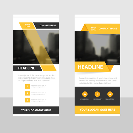Yellow Business Roll Up Banner flat design template ,Abstract Geometric banner template Vector illustration set, abstract presentation brochure flyer template vertical template vector