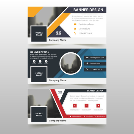 Blue orange red corporate business banner template, horizontal advertising business banner layout template flat design set , clean abstract cover header background for website design