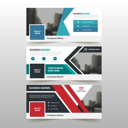 Blue Green red corporate business banner template, horizontal advertising business banner layout template flat design set , clean abstract cover header background for website design Vectores