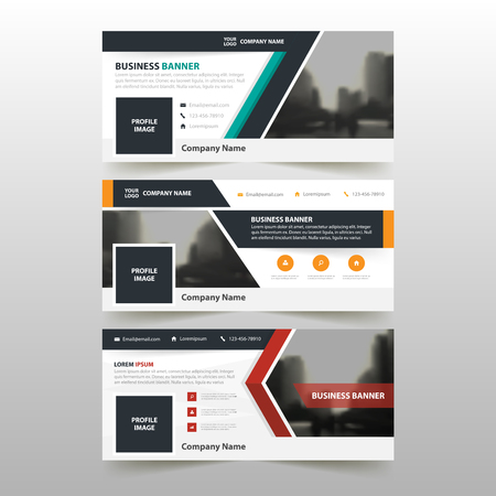 Orange Green red corporate business banner template, horizontal advertising business banner layout template flat design set , clean abstract cover header background for website design