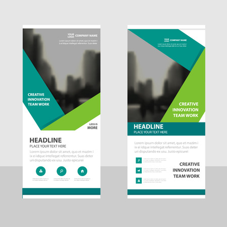 Green Business Roll Up Banner flat design template ,Abstract Geometric banner template Vector illustration set, abstract presentation brochure flyer template vertical template vector