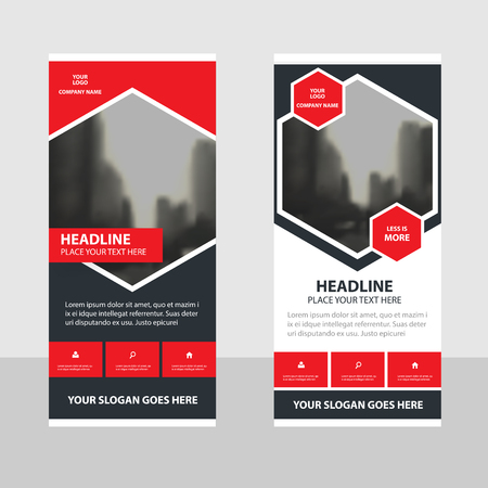 Red black Business Roll Up Banner flat design template ,Abstract Geometric banner template Vector illustration set, abstract presentation brochure flyer template vertical template vector