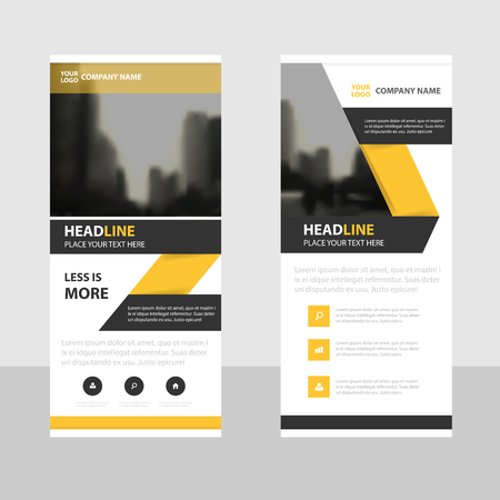 Yellow black Business Roll Up Banner flat design template ,Abstract Geometric banner template Vector illustration set, abstract presentation brochure flyer template vertical template vector 向量圖像